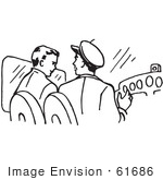 #61686 Clipart Of Pilots In A Plane In Black And White - Royalty Free Vector Illustration
