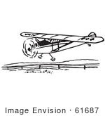 #61687 Clipart Of A Flying Airplane In Black And White - Royalty Free Vector Illustration