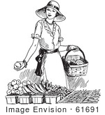 #61691 Clipart Of A Retro Woman Shopping For Produce In Black And White - Royalty Free Vector Illustration by JVPD
