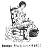#61692 Clipart Of A Retro Chef Angel Helping A Woman Peel Apples In Black And White - Royalty Free Vector Illustration