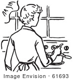 #61693 Clipart Of A Retro Mother Cooking On A Stove In Black And White - Royalty Free Vector Illustration