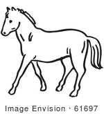 #61697 Clipart Of A Horse In Black And White - Royalty Free Vector Illustration by JVPD