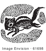 #61698 Clipart Of A Chipmunk In Black And White - Royalty Free Vector Illustration