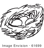 #61699 Clipart Of A Nest With Three Eggs In Black And White - Royalty Free Vector Illustration by JVPD