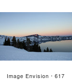 #617 Image Of Crater Lake Before Dusk In February