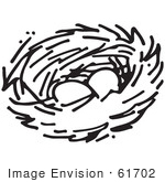 #61702 Clipart Of A Nest With Two Eggs In Black And White - Royalty Free Vector Illustration