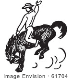 #61704 Clipart Of A Cowboy Riding And Training A Horse In Black And White - Royalty Free Vector Illustration