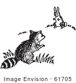 #61705 Clipart Of A Raccoon And Rabbit In Black And White - Royalty Free Vector Illustration