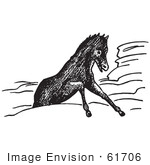#61706 Clipart Of A Horse Stuck In Rocks In Black And White - Royalty Free Vector Illustration