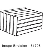 #61708 Clipart Of A Crate Or Animal Trap In Black And White - Royalty Free Vector Illustration
