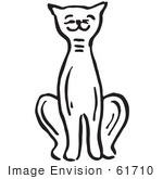 #61710 Clipart Of A Sitting Pleased Cat In Black And White - Royalty Free Vector Illustration