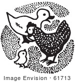 #61713 Clipart Of A Duck And Chickens In Black And White - Royalty Free Vector Illustration