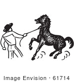 #61714 Clipart Of A Cowboy Training A Horse In Black And White - Royalty Free Vector Illustration