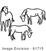 #61715 Clipart Of Three Horses In Black And White - Royalty Free Vector Illustration