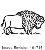 #61716 Clipart Of A Buffalo In Black And White - Royalty Free Vector Illustration