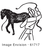 #61717 Clipart Of A Cowboy Training A Horse In Black And White 2 - Royalty Free Vector Illustration