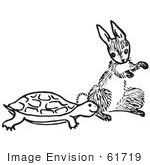 #61719 Clipart Of A Tortoise And Hare In Black And White - Royalty Free Vector Illustration