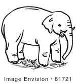 #61721 Clipart Of An Elephant In Black And White - Royalty Free Vector Illustration