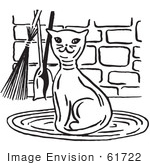 #61722 Clipart Of A Happy Cat By Fireplace Tools In Black And White - Royalty Free Vector Illustration