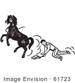 #61723 Clipart Of A Cowboy Being Bucked Off A Horse In Black And White - Royalty Free Vector Illustration