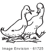 #61725 Clipart Of Walking Ducks In Black And White - Royalty Free Vector Illustration