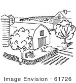 #61726 Clipart Of A Farm In Black And White - Royalty Free Vector Illustration