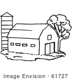 #61727 Clipart Of A Barn And Silo In Black And White - Royalty Free Vector Illustration by JVPD