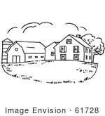 #61728 Clipart Of A Farm House In Black And White - Royalty Free Vector Illustration