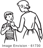 #61730 Clipart Of A Retro Mother Giving Her Son Money In Black And White - Royalty Free Vector Illustration by JVPD