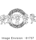 #61737 Clipart Of Retro Chef Cherubs Marching With Kitchen Items Over A Floral Wreath In Black And White - Royalty Free Vector Illustration