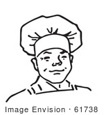 #61738 Clipart Of A Proud Male Chef In Black And White - Royalty Free Vector Illustration