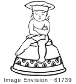 #61739 Clipart Of A Retro Cherub Chef Sitting On An Upside Down Cup In Black And White - Royalty Free Vector Illustration