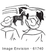 #61740 Clipart Of Ranchers Watching A Foal And Horse In Black And White - Royalty Free Vector Illustration
