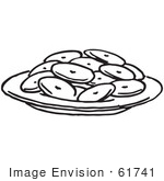 #61741 Clipart Of A Plate Of Cookies In Black And White - Royalty Free Vector Illustration