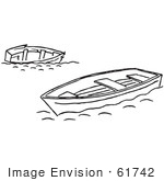 #61742 Clipart Of Tipped And Floating Boats In Black And White - Royalty Free Vector Illustration by JVPD