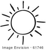 #61746 Clipart Of A Shining Sun In Black And White - Royalty Free Vector Illustration by JVPD