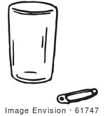 #61747 Clipart Of A Cup And Safety Pin In Black And White - Royalty Free Vector Illustration