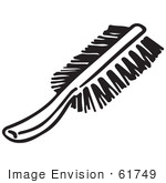 #61749 Clipart Of A Scrub Brush In Black And White - Royalty Free Vector Illustration