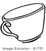 #61751 Clipart Of A Tea Cup In Black And White - Royalty Free Vector Illustration by JVPD