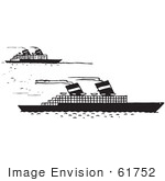 #61752 Clipart Of Steamboats In Black And White - Royalty Free Vector Illustration