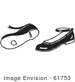 #61753 Clipart Of A Pair Of Worn Girl Shoes In Black And White - Royalty Free Vector Illustration