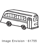 #61755 Clipart Of A School Bus In Black And White - Royalty Free Vector Illustration