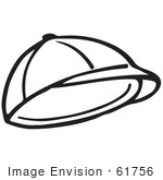 #61756 Clipart Of A Hat In Black And White - Royalty Free Vector Illustration