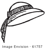 #61757 Clipart Of A Ladies Sun Hat In Black And White - Royalty Free Vector Illustration