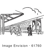 #61760 Clipart Of A Train Station In Black And White - Royalty Free Vector Illustration