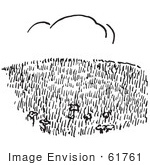 #61761 Clipart Of A Hillside Field In Black And White - Royalty Free Vector Illustration