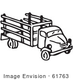 #61763 Clipart Of A Truck In Black And White - Royalty Free Vector Illustration