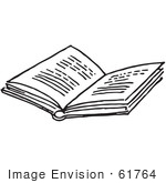 #61764 Clipart Of An Open Book In Black And White - Royalty Free Vector Illustration