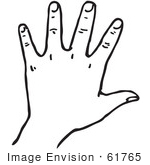 #61765 Clipart Of A Hand In Black And White - Royalty Free Vector Illustration by JVPD