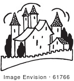 #61766 Clipart Of A Palace In Black And White - Royalty Free Vector Illustration